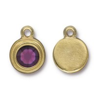 17x12mm Birthstone Drop Charm by TierraCast, Gold Plated Amethyst