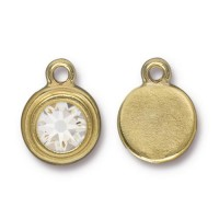 17x12mm Birthstone Drop Charm by TierraCast, Gold Plated Crystal