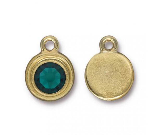 17x12mm Birthstone Drop Charm by TierraCast, Gold Plated Emerald