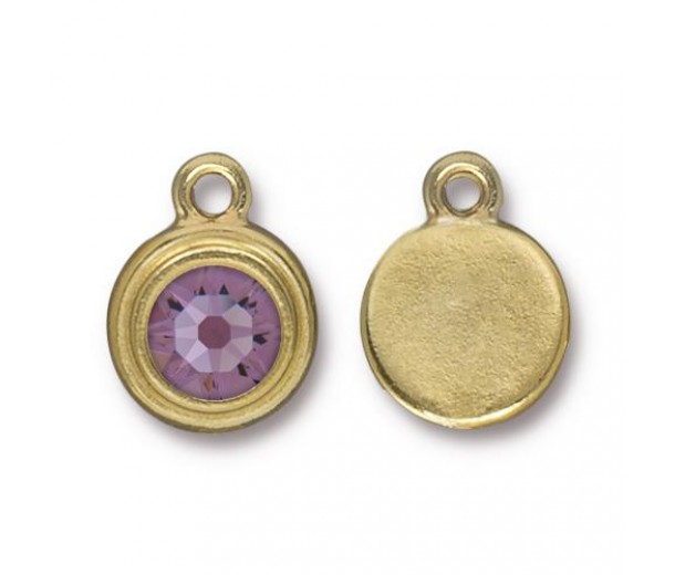 17x12mm Birthstone Drop Charm by TierraCast, Gold Plated Light Amethyst