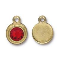 17x12mm Birthstone Drop Charm by TierraCast, Gold Plated Light Siam