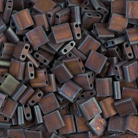 5x5mm Miyuki Tila Beads, Matte Rainbow Copper, 10 Gram Bag