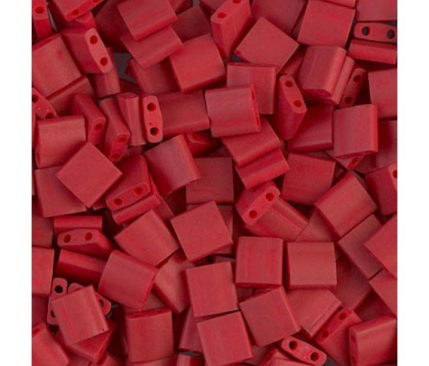 5x5mm Miyuki Tila Beads, Matte Metallic Brick Red, 10 Gram Bag