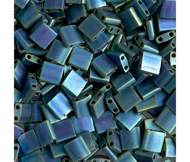 5x5mm Miyuki Tila Beads, Metallic Rainbow Aquamarine, 10 Gram Bag
