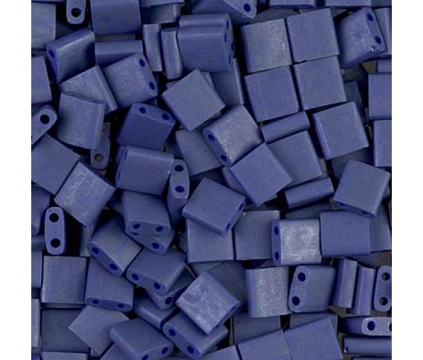 5x5mm Miyuki Tila Beads, Matte Luster Violet Blue, 10 Gram Bag