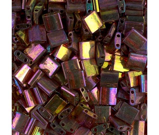 5x5mm Miyuki Tila Beads, Rainbow Rose Gold Luster, 10 Gram Bag