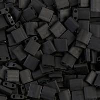 5x5mm Miyuki Tila Beads, Opaque Matte Black, 7.2 Gram Tube
