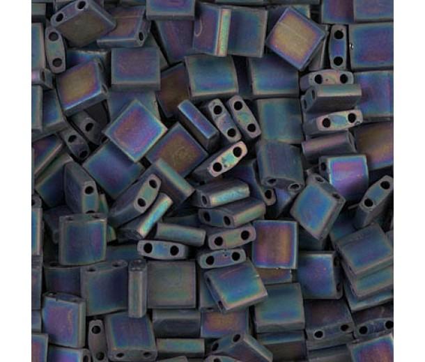 5x5mm Miyuki Tila Beads, Matte Rainbow Black, 10 Gram Bag
