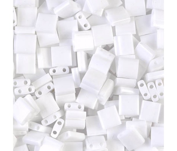 5x5mm Miyuki Tila Beads, Opaque White, 7.2 Gram Tube