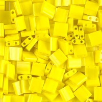 5x5mm Miyuki Tila Beads, Opaque Yellow, 7.2 Gram Tube