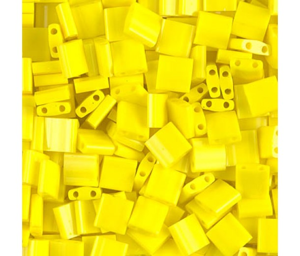 5x5mm Miyuki Tila Beads, Opaque Yellow, 10 Gram Bag