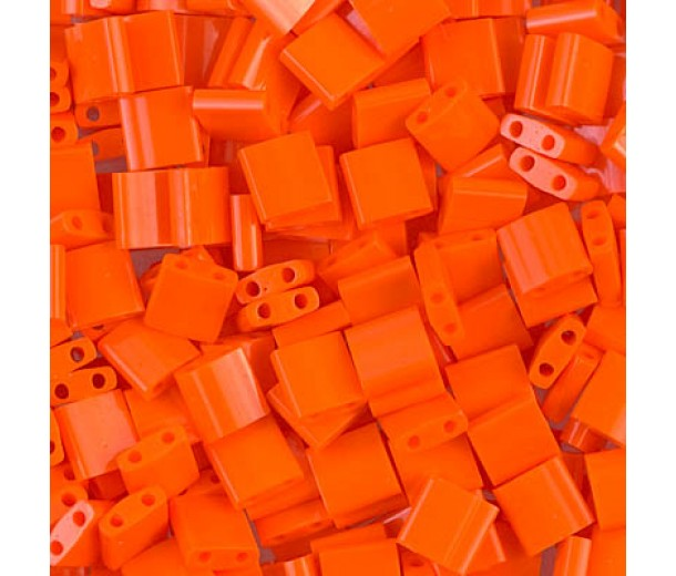 5x5mm Miyuki Tila Beads, Opaque Dark Orange, 10 Gram Bag