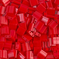 5x5mm Miyuki Tila Beads, Opaque Dark Red, 7.2 Gram Tube