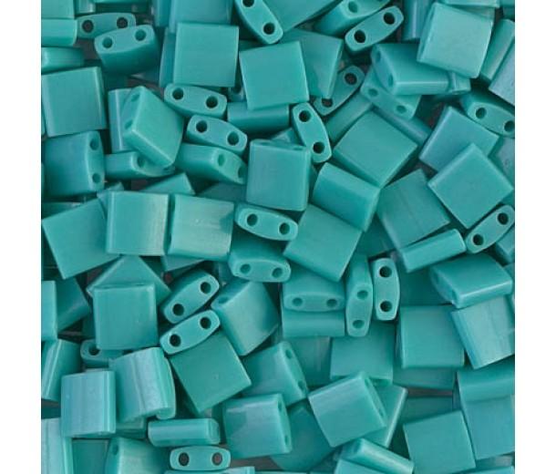 5x5mm Miyuki Tila Beads, Opaque Teal, 7.2 Gram Tube