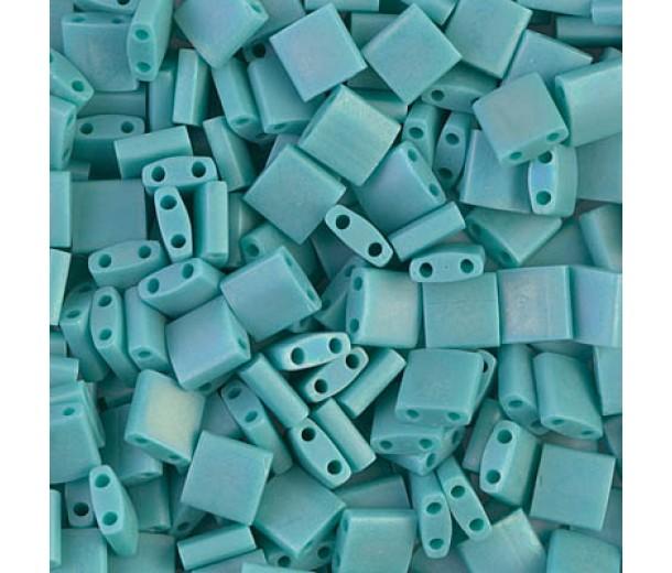 5x5mm Miyuki Tila Beads, Matte Rainbow Teal, 10 Gram Bag