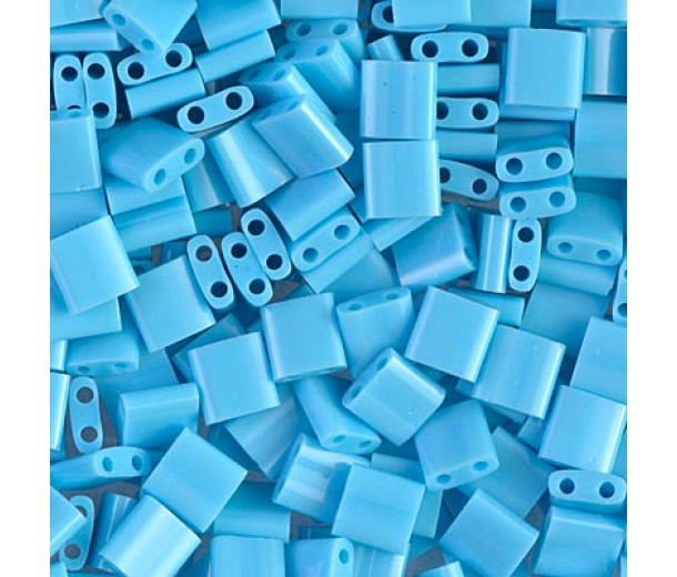 5x5mm Miyuki Tila Beads, Opaque Turquoise Blue, 10 Gram Bag
