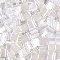5x5mm Miyuki Tila Beads, White Luster, 10 Gram Bag