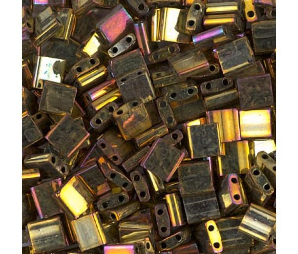 5x5mm Miyuki Tila Beads, Rainbow Rose Gold, 7.2 Gram Tube