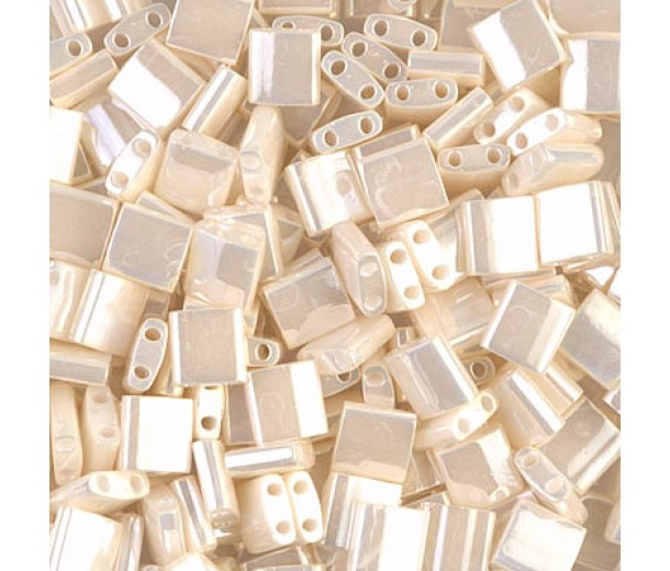 5x5mm Miyuki Tila Beads, Antique Ivory Ceylon, 10 Gram Bag