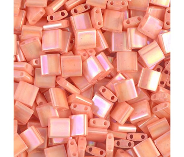 5x5mm Miyuki Tila Beads, Opaque Peach Luster, 10 Gram Bag