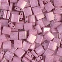 5x5mm Miyuki Tila Beads, Opaque Rose Luster, 10 Gram Bag