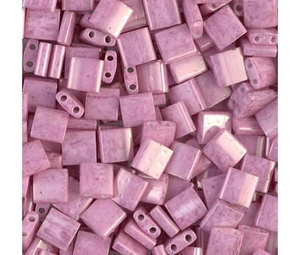 5x5mm Miyuki Tila Beads, Opaque Rose Luster, 7.2 Gram Tube