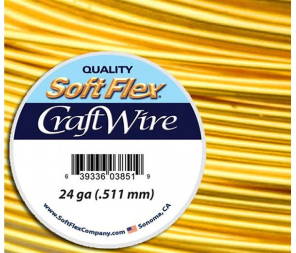 24 Gauge Silver Plated Gold Soft Flex Craft Wire, 15 Yard Spool