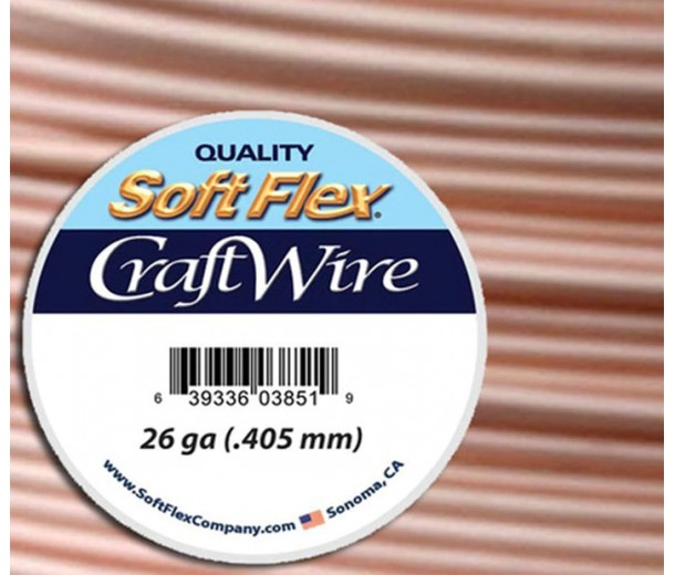 26 Gauge Silver Plated Rose Gold Soft Flex Craft Wire, 15 Yard Spool