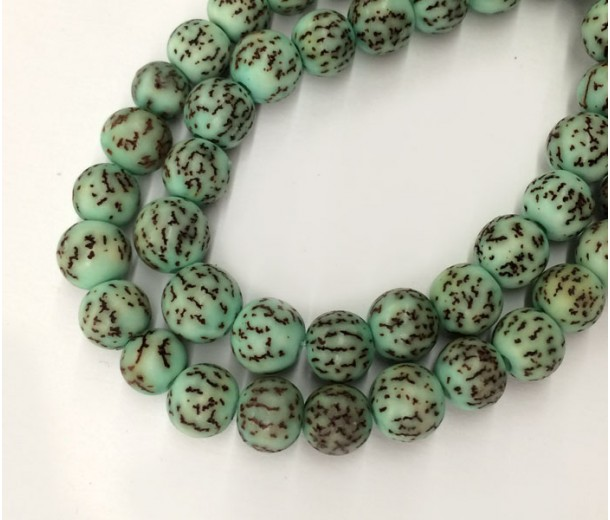 Dyed Salwag Beads, Teal, 8mm Round