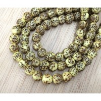 Dyed Salwag Beads, Lemon Yellow, 8mm Round