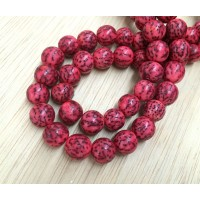 Dyed Salwag Beads, Red, 8mm Round