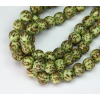 Dyed Salwag Beads, Lime Green, 10mm Round