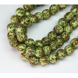 Dyed Salwag Beads, Lime Green, 8mm Round