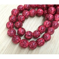 Dyed Salwag Beads, Red, 10mm Round