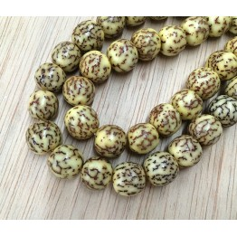 Dyed Salwag Beads, Lemon Yellow, 10mm Round
