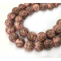Dyed Salwag Beads, Pink, 10mm Round