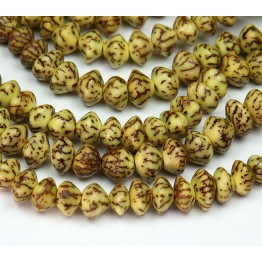 Dyed Salwag Beads, Lemon Yellow, 10x6mm Saucer