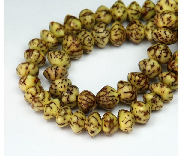 Dyed Salwag Beads, Lemon Yellow, 10x6mm Saucer