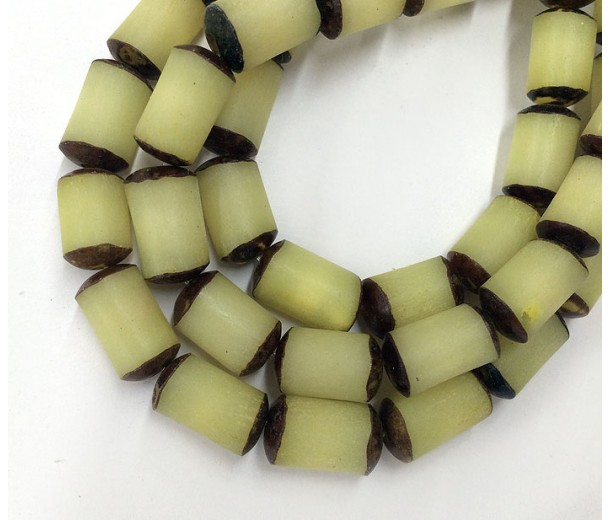 Dyed Buri Nut Beads, Lemon Yellow, 8x13mm Tube