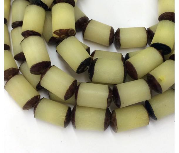 Dyed Buri Nut Beads, Lemon Yellow, 8x13mm Tube