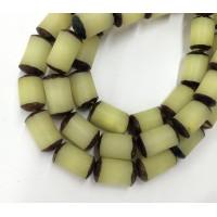 -Dyed Buri Nut Beads, Lemon Yellow, 8x13mm Tube
