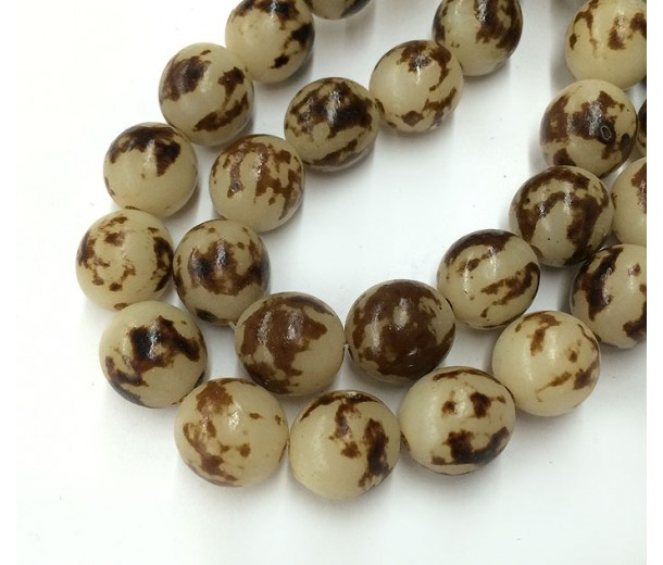 Buri Nut Beads, Tiger Brown, 12mm Round