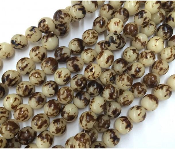 Buri Nut Beads, Tiger Brown, 10mm Round