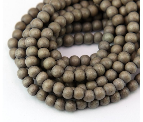 Dyed Wood Beads, Beige, 6mm Round