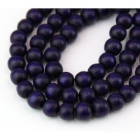 Dyed Wood Beads, Midnight Purple, 8mm Round