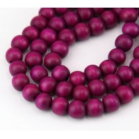 Dyed Wood Beads, Magenta, 8mm Round