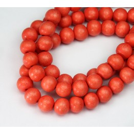 Dyed Wood Beads, Coral, 8mm Round