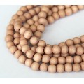 Dyed Wood Beads, Light Rose Brown, 8mm Round