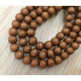 Dyed Wood Beads, Sepia Brown, 8mm Round