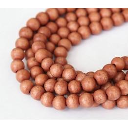 Dyed Wood Beads, Rose Brown, 8mm Round
